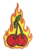 Reed Artist Patch - 7.6cm Flaming Fruit Cherries RARE!