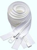 90cm VISLON ZIPPER ~ YKK #8 Moulded - Separating ~ White
