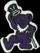 Dancing Bear - Dark Purple Bear With White Cane And Top Hat - Embroidered Iron On Or Sew On Patch