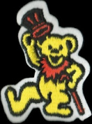 Dancing Bear - Yellow Bear With Orange Cane And Top Hat - Embroidered Iron On Or Sew On Patch
