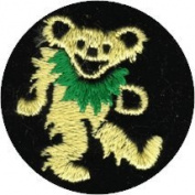 Dancing Bear - Yellow With Green Necklace On Black Circle - Embroidered Iron On Or Sew On Patch