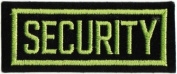 Security - Light Green On Black - Embroidered Iron On Or Sew On Patch