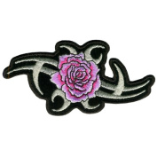 Embroidered Iron On Patch - Metallic Tribal Rose 10cm x 5.1cm Patch