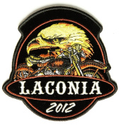 Embroidered Iron On Patch - Laconia 2012 Eagle & Motorcycle 10cm x 10cm Patch