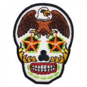 Eagle Sugar Skull Star Eyes Awesome Cool Embroidered Iron On Patches WITH FREE GIFT