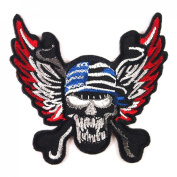 Crossbones Skull Eagle Wings USA Flag Awesome Cool Embroidered Iron On Patches WITH.