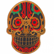 Brown Fantasy Mexican Sugar Skull Awesome Cool Embroidered Iron On Patches WITH FREE GIFT