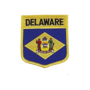 Delaware USA State Shield Flag Iron on Patch Crest Badge .. 7.6cm X 8.9cm ... New