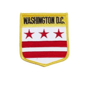 District of Columbia USA State Shield Flag Iron on Patch Crest Badge .. 7.6cm X 8.9cm ... New