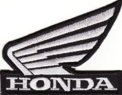 Honda White Wing Motorcycle Car Patch Iron on Sew Applique Embroidered Patches By Luk99