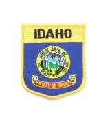 Idaho USA State Shield Flag Iron on Patch Crest Badge .. 7.6cm X 8.9cm ... New