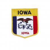 Iowa USA State Shield Flag Iron on Patch Crest Badge .. 7.6cm X 8.9cm ... New