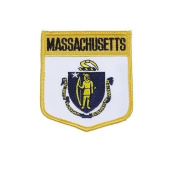 Massachusetts USA State Shield Flag Iron on Patch Crest Badge .. 7.6cm X 8.9cm ... New