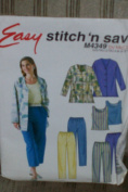 McCalls Easy Stitch 'N Save M4349 Size A (8-10-12-14) Misses Petite Unlined Jacket, Top, Pants, Capri Pants