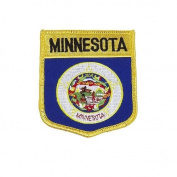 Minnesota USA State Shield Flag Iron on Patch Crest Badge .. 7.6cm X 8.9cm ... New