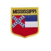 Mississippi USA State Shield Flag Iron on Patch Crest Badge .. 7.6cm X 8.9cm ... New