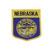 Nebraska USA State Shield Flag Iron on Patch Crest Badge .. 7.6cm X 8.9cm ... New