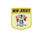 New Jersey USA State Shield Flag Iron on Patch Crest Badge .. 7.6cm X 8.9cm ... New
