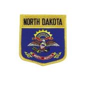 North Dakota USA State Shield Flag Iron on Patch Crest Badge .. 7.6cm X 8.9cm ... New