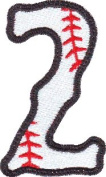 Number 2 Baseball Embroidered Sew on Patch