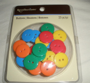 Recollections Buttons - Primary - Yellow/Green/Orange/Blue - 20 Piece
