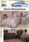 Simplicity House Slip Covers Sofa, Chair, Overskirt, Table Skirt Sewing Instructions # 9800