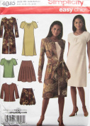 Simplicity Pattern 4045 Misses' Skirt in Two Lengths, Bias Dress or Top and Unlined Coat or Jacket Size R5