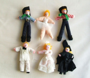 Six Little Dolls Cotton Fabric Applique Three Inches.
