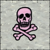 Skull & Crossbones Black on Pink Embroidered Iron On Applique Patch 7cm