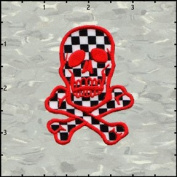 Skull & Crossbones Red on Chequered Embroidered Iron On Applique Patch 7cm