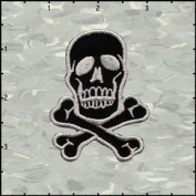 Skull & Crossbones Silver on Black Embroidered Iron On Applique Patch 7cm