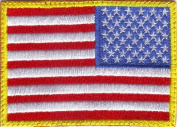 USA Yellow Border Reverse Flag Embroidered Sew on Patch
