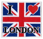 I Love London Union Jack (Large) Embroidered Patch 10cm x 8.5cm