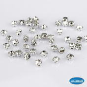 100 Pcs Swarovski Style Crystal Ringed Sew on Rhinestone Czech Glass, White with Silver Plated Brass Base 3 mm