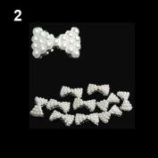 10x 3D Pearl Bowtie Nail Art Glitters Stickers DIY Decorations White
