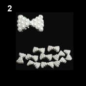 10x 3D Pearl Bowtie Nail Art Glitters Stickers DIY Decorations White