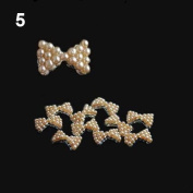 10x 3D Pearl Bowtie Nail Art Glitters Stickers DIY Decorations Khaki