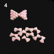 10x 3D Pearl Bowtie Nail Art Glitters Stickers DIY Decorations Pink