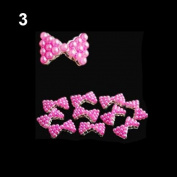 10x 3D Pearl Bowtie Nail Art Glitters Stickers DIY Decorations Rose-red