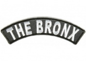THE BRONX NYC NY White Black 10cm x 3.8cm Quality Rocker Biker Vest Patch PAT-2943