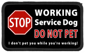 Service Dog Stop Sign WORKING - DO NOT PET While Working 7.6cm x 13cm Black Rim Sew-on Patch