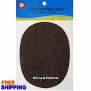 No-Sew Iron-on Brown Denim Oval Elbow Knee Repair Decorative Patches 2 per pack