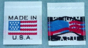 100 pcs WOVEN CLOTHING LABELS - MADE IN U.S.A. AMERICAN FLAG