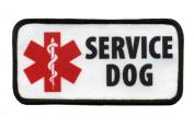SERVICE DOG Red Medical Alert Symbol 6.4cm x 13cm Sew-on Black Rim Patch