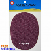 No-Sew Iron-on Burgundy Denim Oval Elbow Knee Repair Decorative Patches 2 per pack