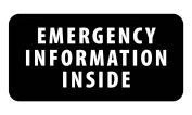 EMERGENCY INFORMATION INSIDE Medical Alert Black 6.4cm x 13cm Black Rim Sew-on Patch