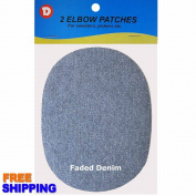 No-Sew Iron-on Faded Denim Oval Elbow Knee Repair Decorative Patches 2 per pack