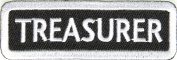 Treasurer Patch White, 7.6cm x 2.5cm , small embroidered iron on Rank patch