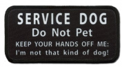 HANDS OFF Service DOG DO NOT PET Medical 6.4cm x 13cm Black Rim Sew-on Patch