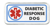 DIABETIC RESPONSE Service Dog Medical Symbol 6.4cm x 13cm White Rim Sew-on Patch